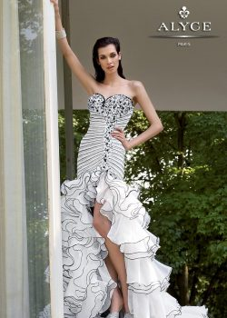 Gala-salsa jurk zwart/wit