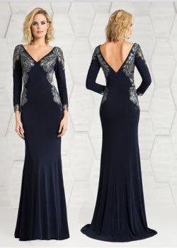 Avond jurk met mouw in de kleur donker blauw
